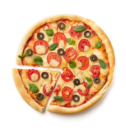 margarita pizza isolated on white background