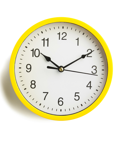 morning noon and night: wall clock isolated on white background