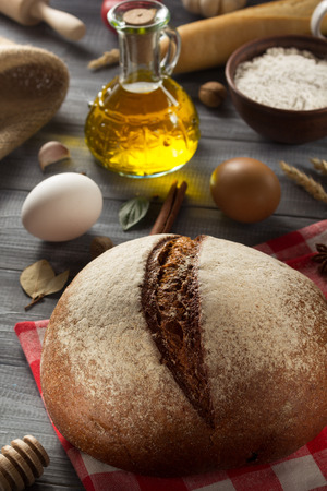 bakery products: bread and bakery products on wood background