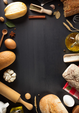 bakery products: bread and bakery products on wooden background