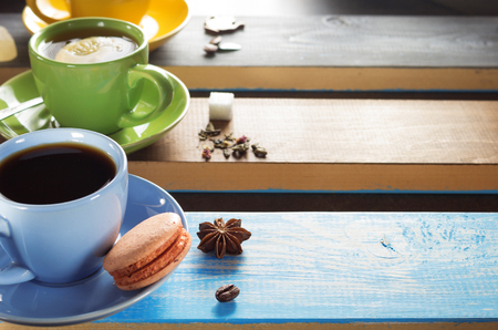 light slate gray: cup of coffee, cacao and tea at table