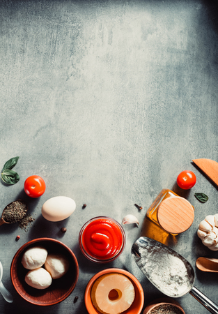 food spice and herbs at table at table background Stock Photo