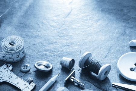 sewing tools and accessories on table background Stock Photo - 77111125