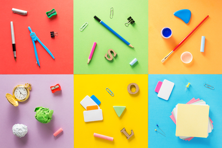 school supplies at abstract colorful background texture Stock Photo