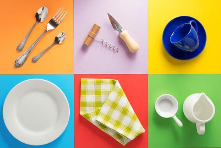 Keukengerei op abstracte kleurrijke achtergrond Stockfoto
