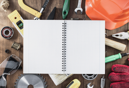 combination: work tools and instruments on wooden background