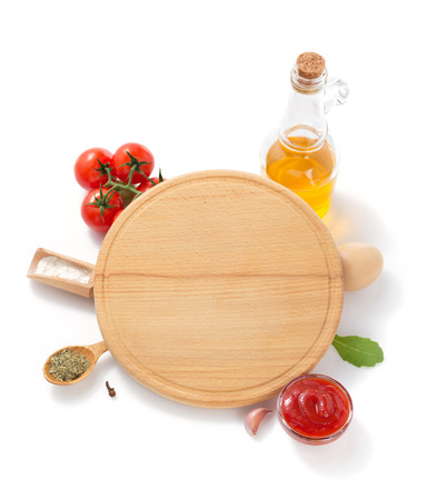 pizza cutting board with  ingredient isolated on white background
