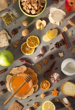 healthy food on stone table background Foto de archivo