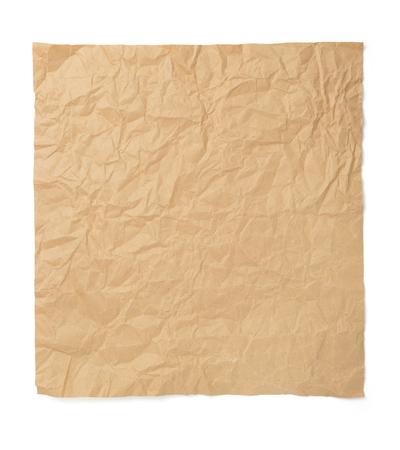 wrinkled paper isolated at white background