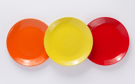 empty plate on white  background, top view Stock Photo