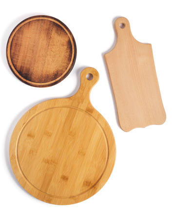 wooden pizza or bread cutting board at white background, top view Imagens
