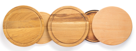 wooden pizza or bread cutting board at white background, top view 写真素材