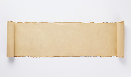 old retro aged paper parchment  on white background, top view Standard-Bild