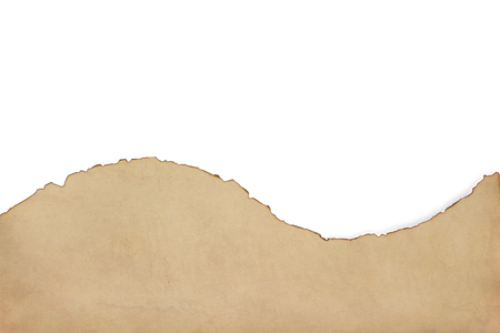 old retro aged paper parchment  isolated on white background, top view