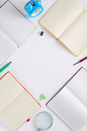 school accessories on white  background, top view