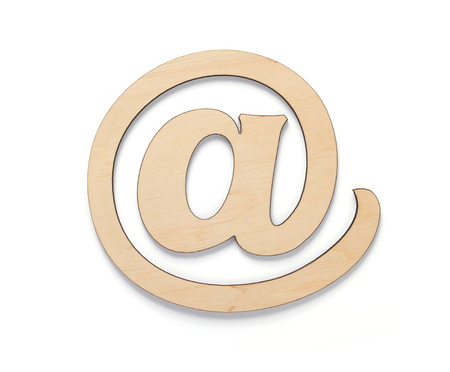 email wooden symbol isolated on white background