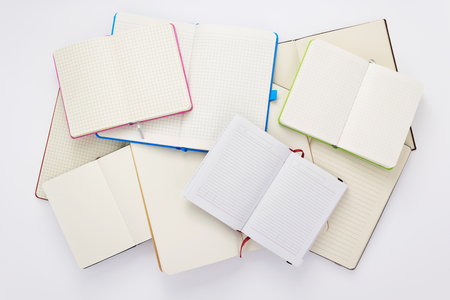 paper notebook at white background, top view 免版税图像