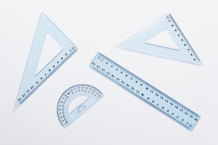 ruler metric at white background, top view