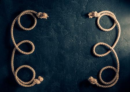 Ship rope at black  texture Stock Photo