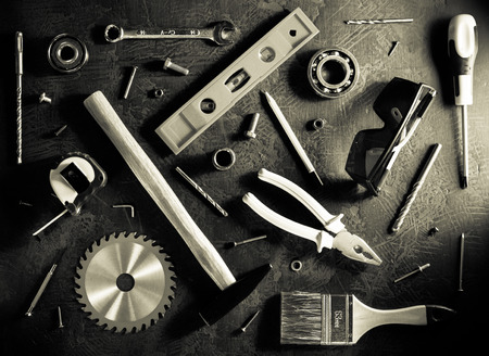 Set of tools and instruments on black