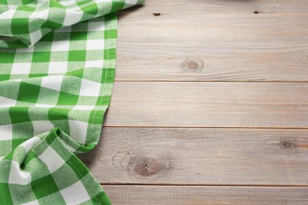 cloth napkin at rustic table in front,wooden plank board background Stockfoto