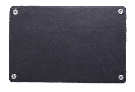 slate stone tray isolated on white background