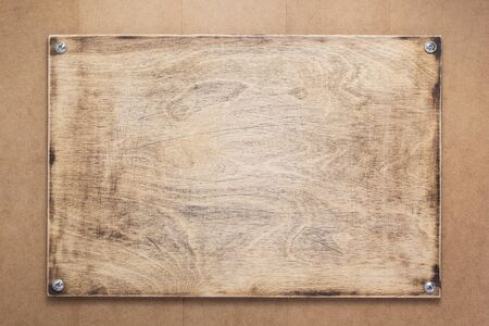 nameplate or wall sign at wooden mdf boards  background as texture surface Standard-Bild