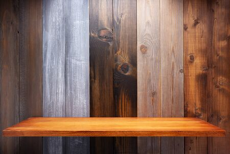 wooden shelf at board plank background wall as surface texture