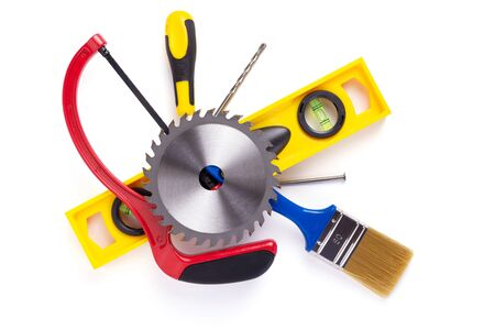 set of construction tools isolated at white background, top view