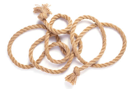 ship rope with sea knot isolated on white background, top view Standard-Bild