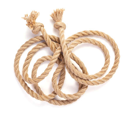 ship rope isolated on white background, top view