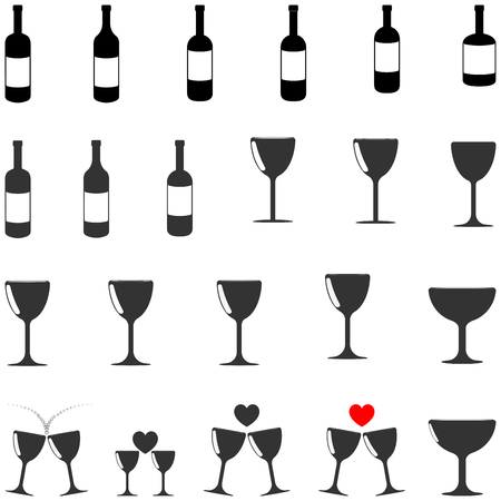 bocal: Black and grey  bottle and bocal different shape  - set icons.