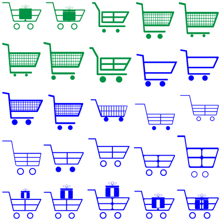 retailers: Blue and green carts - set icons.