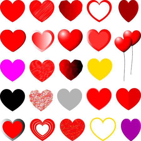 violet red: Red, yellow, violet and grey hearts different shape - set.