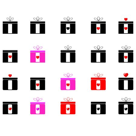 violet red: Presents - black, red and violet colours - icons.