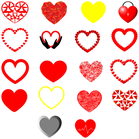 Red, yellow and grey hearts different shape - set.