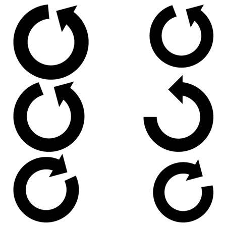 arrow circles: Big black arrows with part circles - set icons.
