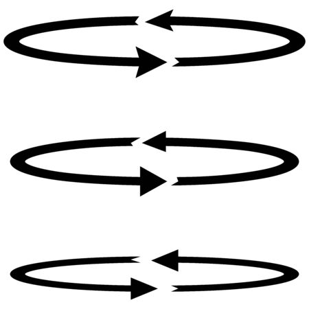 arrow circles: Three black arrows with parts circles in flatness double direction - set icons. Illustration