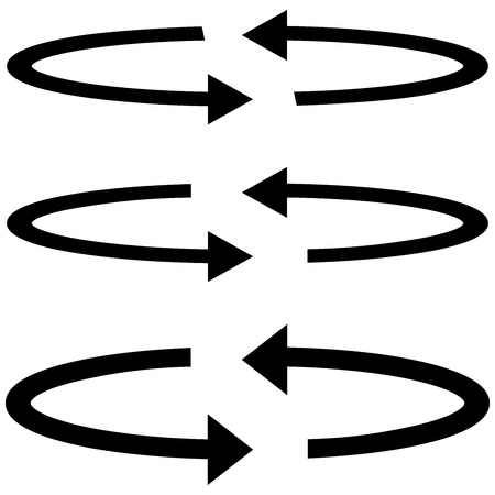 arrow circles: Three black arrows with part circles in flatness double direction - set icons.