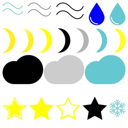 Symbol wether: wind, drop, moons, clouds, stars and snowflake - set icons. Illustration