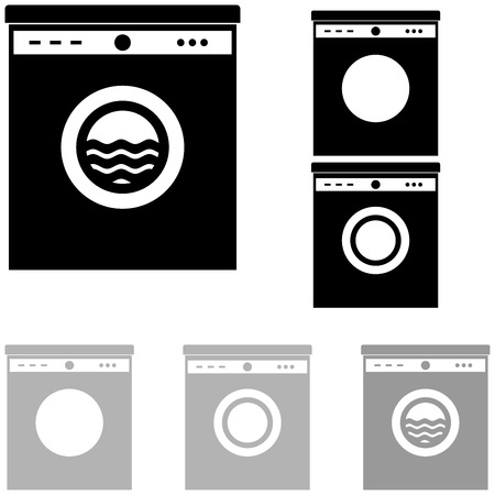 domestic life: Grey and black washer on the white color. Illustration