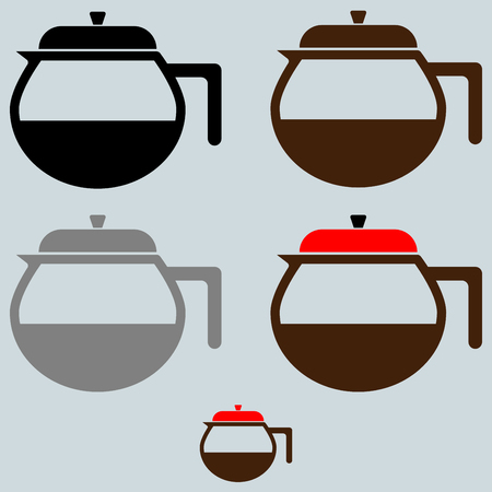 The black and brown coffee maker or container it is set icons.