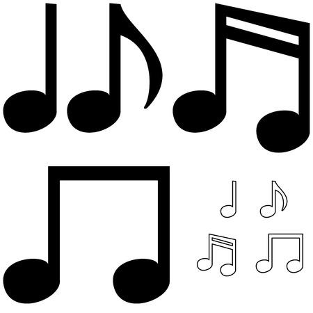 crotchet: The black different simple notes it is set. Illustration