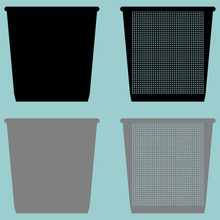 pail tank: Pail bucket serene or dustbin with metal for paper icon set.