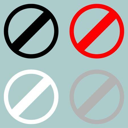Sign prohibiton interdiction ban. Set icons. Illustration