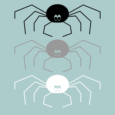 Black grey white spider icon it is set.
