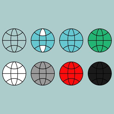 globe  the terrestrial ball: Terrestrial globe different colour flat icon set.