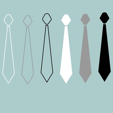 Tie or cravat path and flat style icon set.