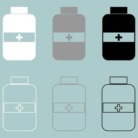 impotence: Jar with pill white grey black icon set.