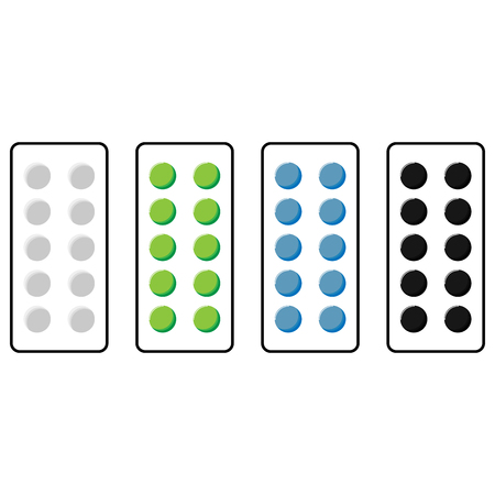 stockie: Plate with pills green blue grey black colour set. Illustration